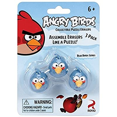 Angry Birds Blue Bird Collectible Puzzle Erasers,3 Pack: Office Products