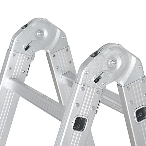 Finether 15.4ft Heavy Duty Multi Purpose Aluminum Folding Extension Ladder with Safety Locking Hinges 330lb Capacity (New Non-slip Mat and Wheels for Free) by Finether (Image #8)