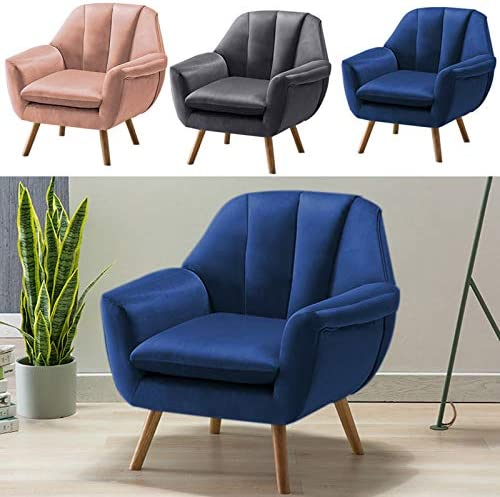 INMOZATA Occasional Accent Chair Modern Velvet Wingack Chair Armchair Tub Chair with Cushion Pad for Living Room Bedroom Dining Room (Navy Blue)