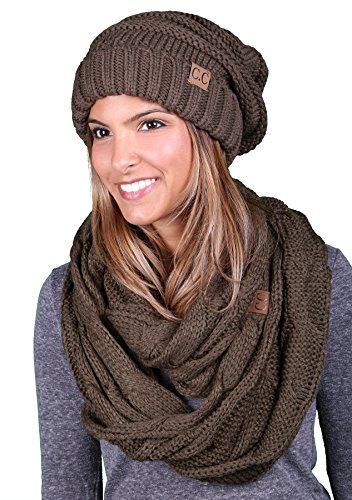 bHS-6100-33 Oversized Beanie Scarf Bundle - Olive (Solid)