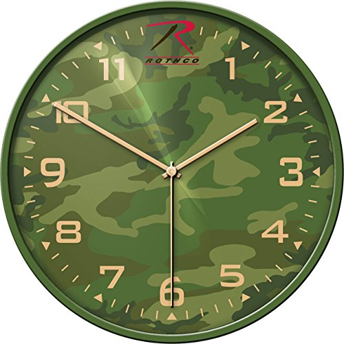Woodland Camouflage Wall Clock Plastic Aluminum and Glass