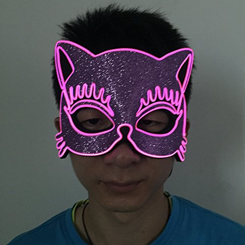 Led Party Supplies /El Wire Mask with Sound Active and Flashing 2 in 1 of pink by One Size to Filled Most Face by (Dance Costume Designer Online)