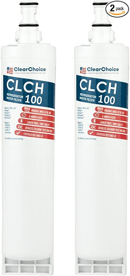 Clear Choice CLCH100 Refrigerator Water Filter Whirlpool Filter Replacement Cost-Effective Alternative to Factory Original ClearChoice