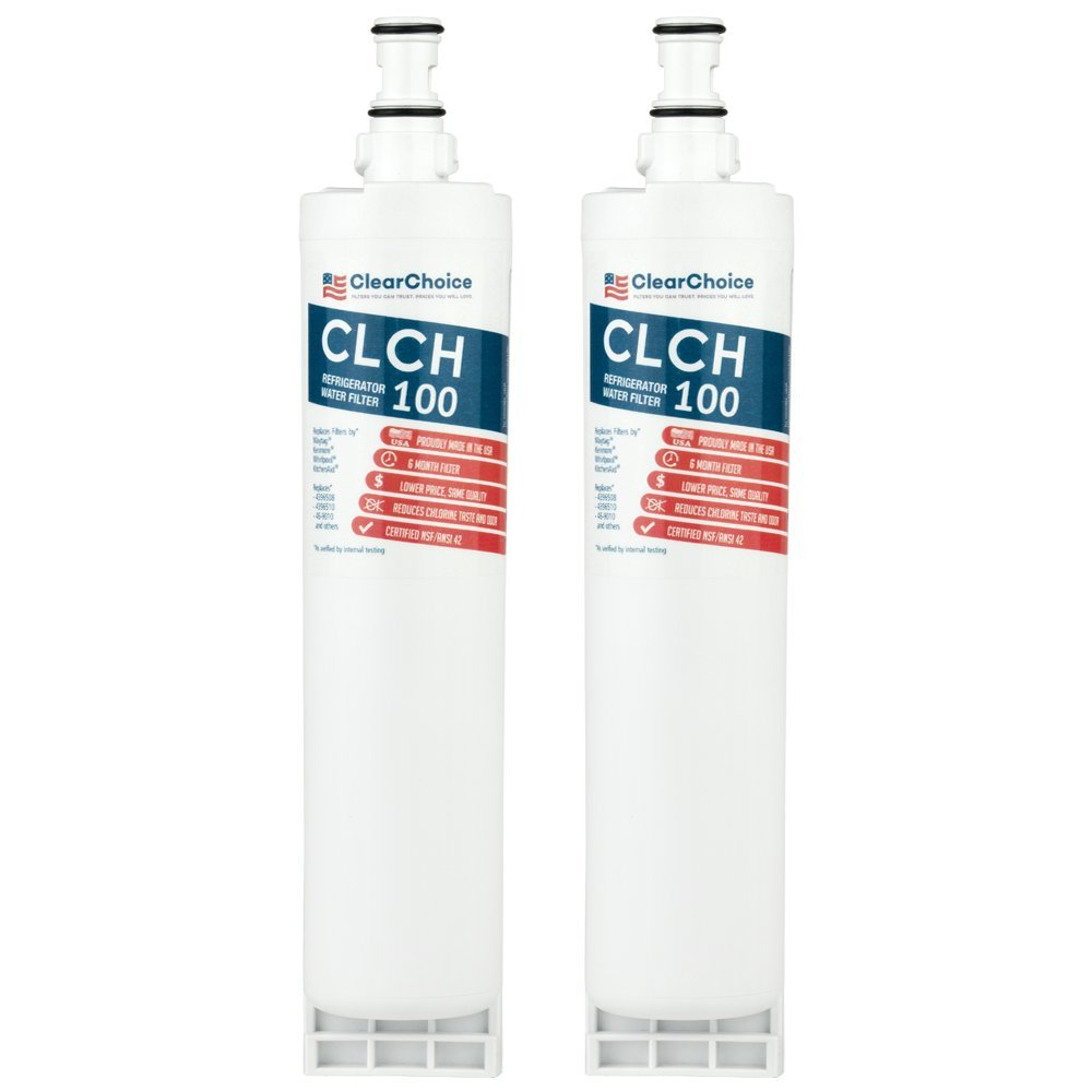 Clear Choice CLCH100 Replacement for Whirlpool 4396508 4396510 Refrigerator Water Filter Compatible with EDR5RXD1 EFF-6002A, NSF/ANSI 42 Certified, Box of 2, Made in the USA by Clear Choice