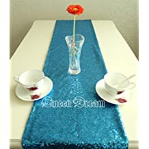 "QueenDream sheer sequin table runner 14""x80"" Aqua Blue sequin fabric sequin table runner sequins table runner for wedding party Halloween Decr aisle runner"