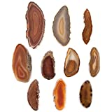 """Crystal Allies Gallery: Set of 10 Assorted 1.5"""" to 2"""" Natural & Dyed Agate Druzy Thin Pendant Slices w/ 2mm Drilled Hole - Choose Your Color"""