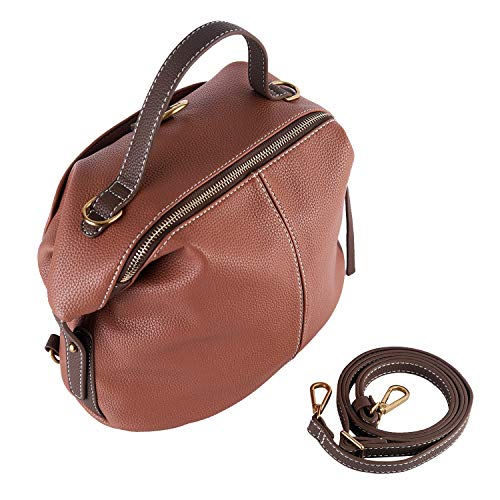 Mentor Bag - Mentor F-7635 Bucket Bag for Women Top Handle Handbags Satchel Leather Shoulder Crossbody Bucket Bag (Dusty rose)