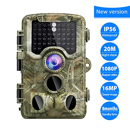 Trail Camera 16MP 1080P Game Camera 120°Wide Angle Lens 47 Infrared LEDs Night Vision Wildlife Hunting Camera with IP56 Waterproof 0.2s Trigger Time Scouting Camera