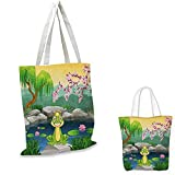 """King thin shopping bag Fairytale Inspired Cute Little Frog Prince near Lake on Moss Rock with Flowers Image canvas tote bagMulticolor. 13""""x13""""-10"""""""