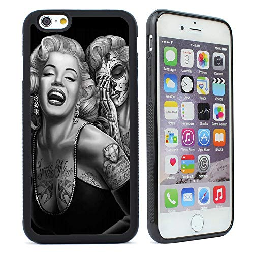 Color Monroe Marilyn (iPhone 6S Case,iPhone 6 Case,Marilyn Monroe Skull Anti-Skid Soft Rubber TPU Phone Cases for iPhone XR Cover Hybrid TPU PC Printed Cover with Aluminum Metal,Sheet Shock-Absorption Anti-Scratch Bumper)