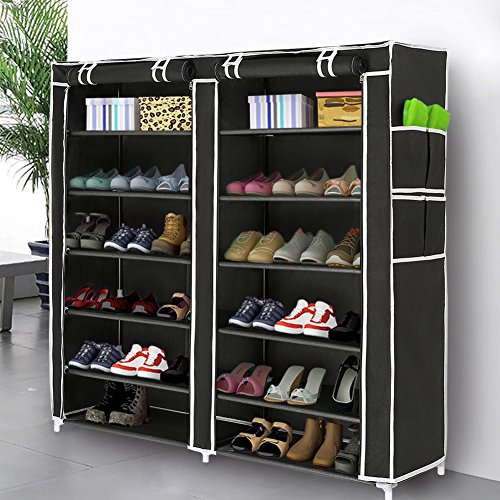Blissun Shoe Rack Shoe Storage Organizer Cabinet Tower with Nonwoven Fabric Cover (7 Tiers, Black)