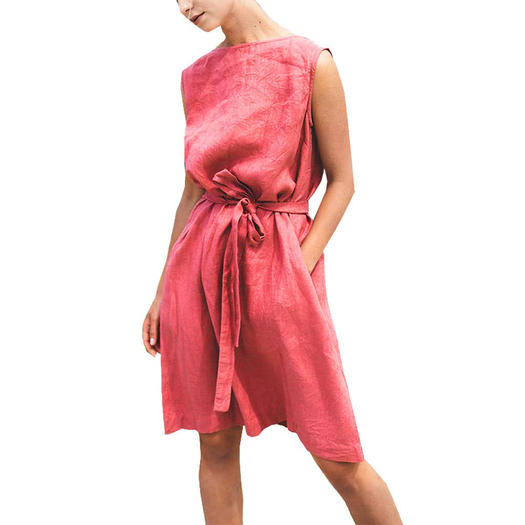 Women's Short Sleeve Dress Loose Casual Dress Front Tie Bandage Cotton Linen Dress Classic Party Dress Size S-XL (XL, Red) by Sengei