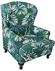 Wingback Chair Slipcover Wingback Armchair Covers Printed Stretch Chair Slip Covers Washable Armchair Protector Cover for Living Room