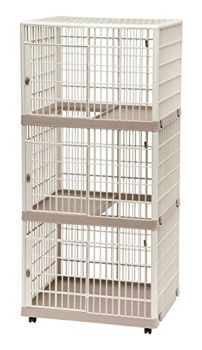 IRIS 3-Tier Cat Cage, Tan ()