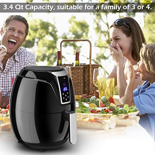 Costzon Electric Air Fryer, 3.4 Quart 1400W, Healthy Oil Free Cooking, 7-In-1 Electric Deep Cooker with LCD Touch, Temperature and Time Control, Dishwasher Safe, Detachable Basket Handle by Costzon (Image #4)