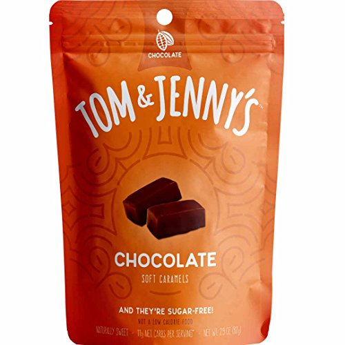 Tom & Jenny's Sugar Free Soft Caramels - Sweetened with Xylitol and Maltitol - Better Alternative for a Moderate 100 g Low Net Carb Keto Diet Lifestyle - (Chocolate Caramel, 1-pack)