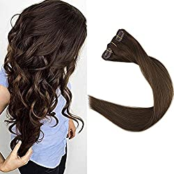 "Full Shine 18"" 9Pcs Good Quality Human Hair Clip Extensions Full Head Clip on Hair Extensions Human Hair Dark Brown 100 Real Hair Extensions Clip Ons Color #4"