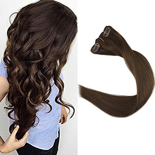 Full Shine 16″ 9Pcs Dark Brown Clip in Human Hair Extensions 120gram Brazilian Clip on Hair Weave Extensions Clip Remy Hair Great Quality For Sale