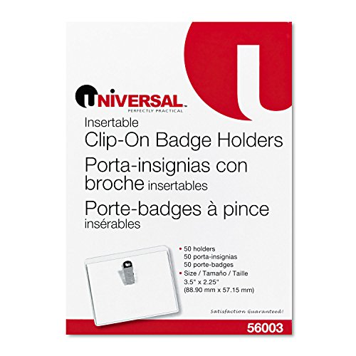 Universal Label Holder Kit - Universal 56003 Clear Badge Holders w/Garment-Safe Clips, 2 1/4 x 3 1/2, White Inserts, 50/Box