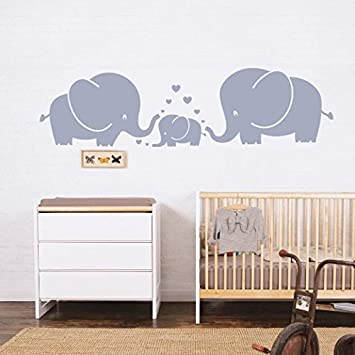 Amazoncom Cute Elephant Family Wall Decal With Hearts Wall - Elephant wall decalsamazoncom elephant bubbles wall decal nursery decor baby