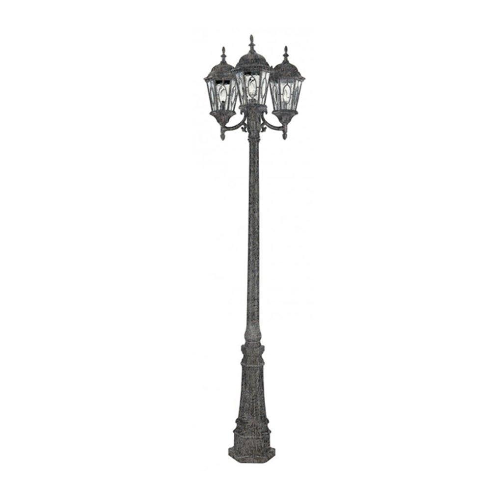 Transglobe Lighting 4719 SWI Lamp Post with Beveled Glass Shades, Swedish Iron Finished