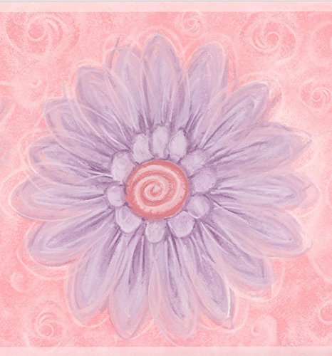 Baby Room Wallpaper Borders (Purple Flowers Pink Wallpaper Border Abstract Design, Roll 15' x 9.25'')