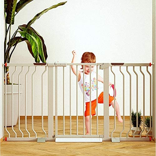 Huo Metal White Auto Close Pressure Mount Baby Safety Gate for Stairs Hallways and Doors (Size : 216-223cm)
