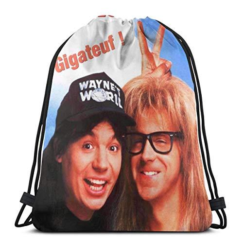 NA Wayne's World 2 Waterproof Drawstring Backpack Training Shopping Bags For Men And Women Refined Drawstring Bag