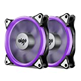 Aigo, Halo Ring LED 120mm 12cm PC CPU Computer Case Cooling Neon Quite Clear Fan Mod 4 Pin/3 Pin (120mm, 2 Pack Purple)