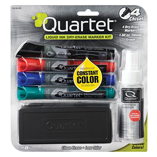 Revitalize Kit (Quartet EnduraGlide Accessory Kit, 4 Chisel-Point Dry Erase Markers in Mixed Colors, With Eraser and Cleaning Spray (5001M-4SK))