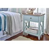 Porthos Home Antique Revival CB145B AQU Kashi Accent Nightstand, Aqua