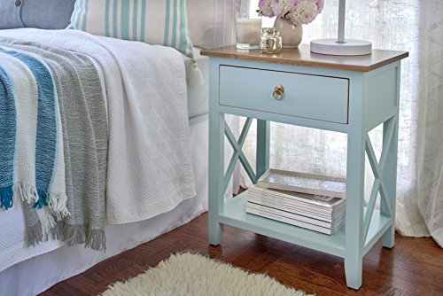 Porthos Home CB145B AQU Kashi Mid-Century End Contrast Table Top, Pull-Out Drawer and Shelf, Crafted from Solid Pine Wood, for Living Rooms and Bedrooms, One Size Aqua - [CRAFTED FROM WARP-RESISTANT SOLID PINE WOOD] expect long-lasting durability with the Porthos Home Kashi sofa end table as it's crafted from warp-resistant solid pine wood that doesn't go out of shape easily [CHARMING TWO-COLORED COFFEE END TABLE] featuring an array of charming colors with contrasting table tops, the Kashi coffee end table instantly jazzes up a boring corner while offering storage space for your stuff with its pull-out drawer and shelf unit [SPACE-SAVING WOOD SIDE TABLE] the sofa end tables are crafted in the mid-century tradition that combines sleekness with functionality; they're perfect for the cozy living room or bedroom as they don' take up a lot of floor space - bedroom-furniture, nightstands, bedroom - 511qkKV4kTL -