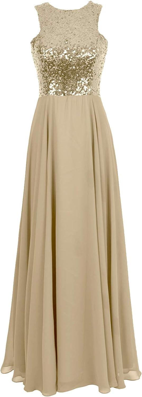 MACloth Women Sequin Wedding Party Evening Gown Sleeveless Long Bridesmaid Dress