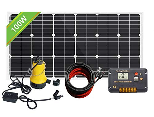 Pumplus 12V 100W Solar Water Pump Kit – 100W Solar Panel + 12V Water Pump + 20A LCD Display PWM Controller + 1 Pair of Solar Cable for Remote Watering, Garden, Farm Irrigation, Tank Filling