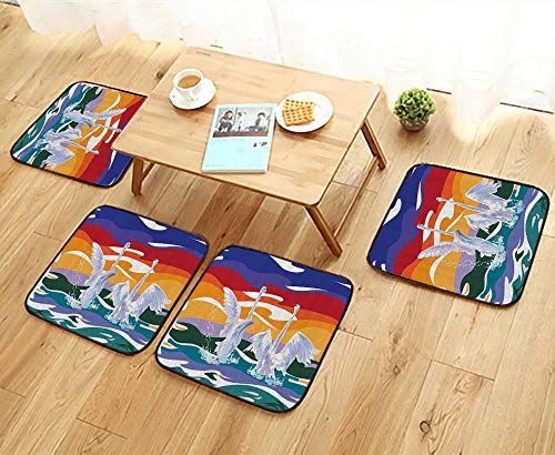 - Printsonne Home Chair Set Funky Style of Swan Couple Swimming in The Sea Rainbow Color Sky Backdrop Mod Machine-Washable W21.5 x L21.5/4PCS Set