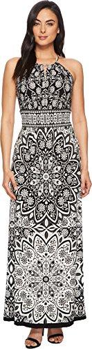 London Times Women's Rosette Medallion Keyhole Halter Dress Black/White 12