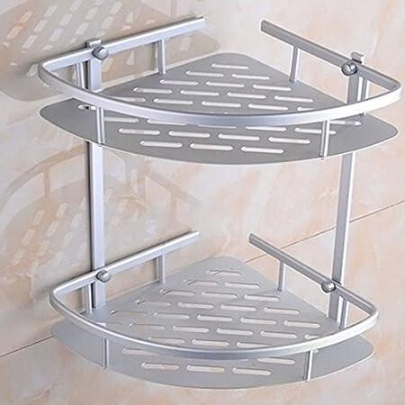 Risingmed Matte Rust-Proof Aluminium Bathroom 2-Tier Corner Shelves ...