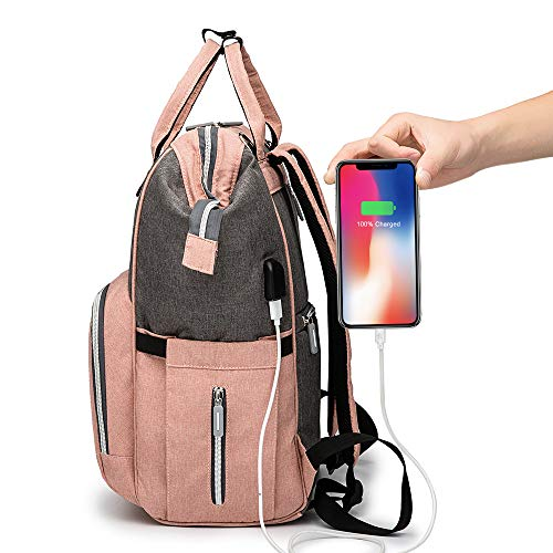 Diaper Bag Backpack, JORLAI Large Baby Bag, Multi-Functional Travel Back Pack, Anti-Water Maternity Baby Diaper Bag with Stroller Straps and Built-in USB Charging Port, Pink