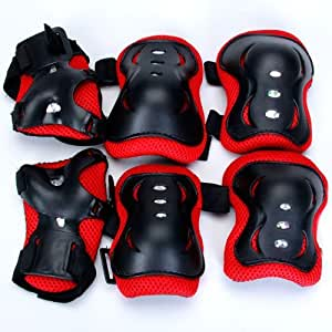 E-Tribe Kid Cycling Roller Skating Knee Elbow Wrist Protective Pads - Black And Red / Made of Durable, Soft EVA Padded Material with Tough Plastic Plates--Suitable for Skateboard, Biking, Mini Bike Riding and Other Extreme Sports