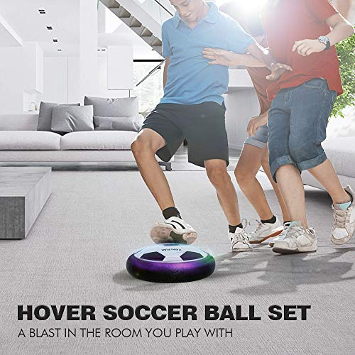 Kids Toys Hover Soccer Ball Set with 2 Goals, Air Soccer with Led Light, Excellent Time Killer for Boys/Girls, Hovering Soccer Ball with Foam Bumper for Indoor Games, an Inflatable Ball Included
