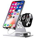 Universal Cell Phone Stand, for Apple iwatch Charger Stand for iWatch, All Android Smartphone, for iPhone 6 6s 7 8 X Plus, Accessories Desk, for Nintendo Switch, Tablets(up to 12.9 inch) (2n1-silver)