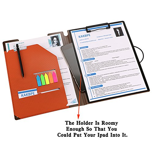 Clipboard Folder File Padfolio Clipboard Storage, Kakbpe Bussiness Letter Size Padfolio with Refillable Notepads, Give a Total of 100 Note Page Markers in Five Colors-Orange, Letter Size Photo #3