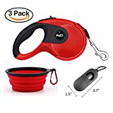 luciphia SiYang Retractable Dog Leash 16.4 ft Dog Walking Leash for Small Medium Large Dogs - Up To 88 lb Dog - Ergonomic Grip - Waste Bag Dispenser and Collapsible Water Bowl included(Red)
