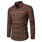 NUWFOR Men's Long Sleeve Lattice Plaid Painting Large Size Casual Top Blouse Shirts(Brown,M US/M AS Bust:37.7'')