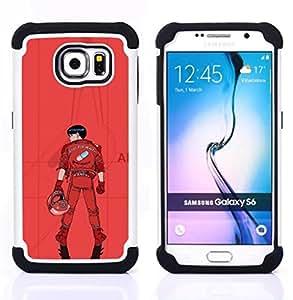 """Samsung Galaxy S6 / SM-G920 - 3 en 1 impreso colorido de Altas Prestaciones PC Funda chaqueta Negro cubierta gel silicona suave (Kaneua"""")"""