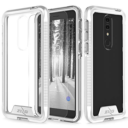 Zizo Ion Series Compatible with Alcatel Onyx Case Military Grade Drop Tested with Tempered Glass Screen Protector Silver Clear