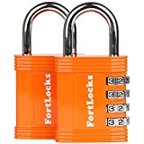 FortLocks Padlock Set - 4 Digit Combination Lock for Gym Outdoor & School Locker, Fence, Case & Shed – Heavy Duty Resettable Set Your Own Combo – Waterproof (Orange, 2 Pack)