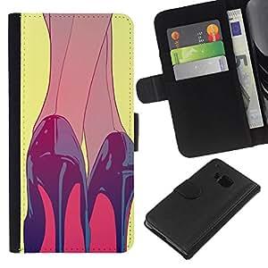 For HTC One M9 Case , Heels Black Red Shoes Painting - la tarjeta de Crédito Slots PU Funda de cuero Monedero caso cubierta de piel