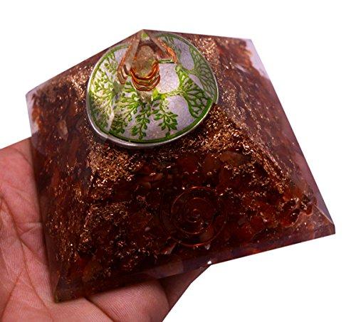 Reiki Energized Chakra Healing Large Orgone Pyramid with Orange Carnelian Gemstones with Copper Coiled Crystal Points for EMF Protection Meditation Yoga Energy Generator 3'' Size - Krishna Mart by Krishna Mart India (Image #4)