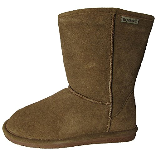 Bearpaw Womens Emma Short 8-Inch Suede Sheepskin Boot, Hicko